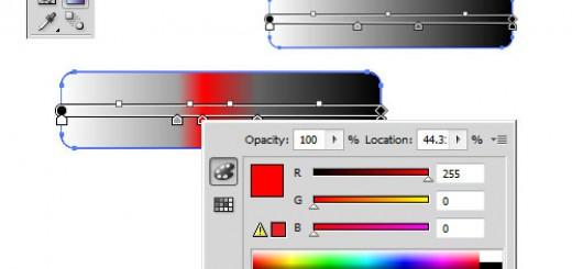 панель Gradient и Gradient Tool